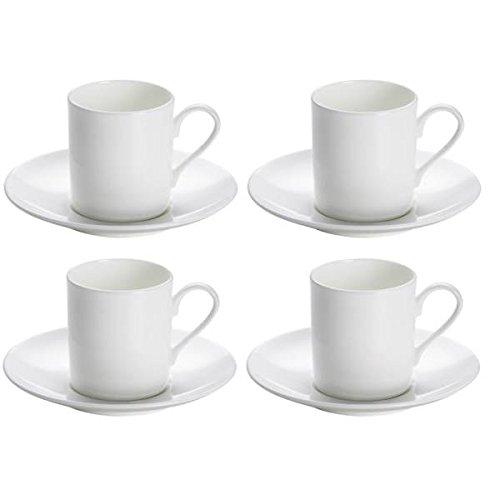 Maxwell & Williams 4er Set Espressotassen mit Untertasse Cashmere Round weiß