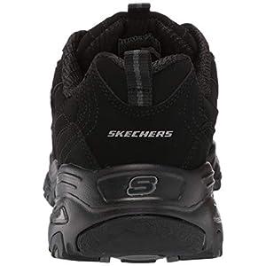 Skechers Sport Women's D'Lites Memory Foam Lace-up Sneaker,Black/Black,9.5 M US