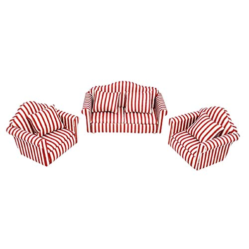 SM SunniMix 1:12 Dollhouse Furniture Set Miniature Love Seat Sofa Armchair, Kid Toy Simulation Living Room Furniture, Doll House Toy DIY Accessorie
