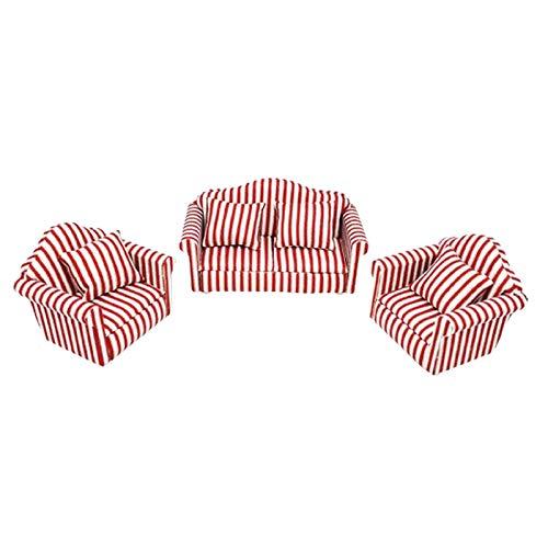 T TOOYFUL 1/12 Dollhouse Sofa Model Love Seat Mobili in Miniatura Arredamento Soggiorno