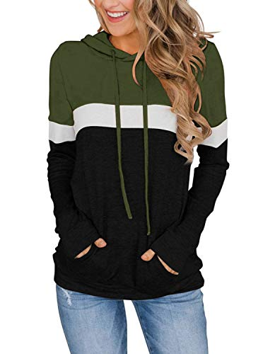 Womens Long Sleeve Shirts Color Block Sweaters Sweatshirts with Pocket Teen Girls Fall Clothes Army Green X-Large