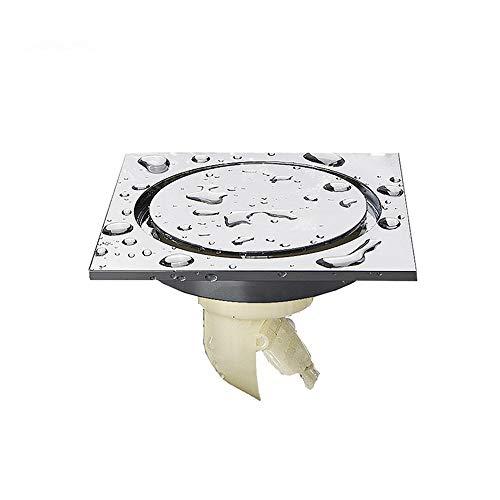 DYecHenG Bodenablauf Bad Bodenablauf Geruch Unsichtbar Quadrat Kupfer Küche Bad Bodenablauf 10cmx10cm (Silber) für Badezimmer Toilette Küche (Color : Silver, Size : 10 x 10 x 8.5 cm)