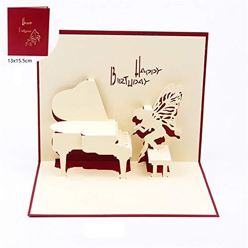 3D pop-up verjaardagskaarten vleugels Piano Happy Birthday verjaardag piano vouwkaarten 13x15,5 cm met envelop