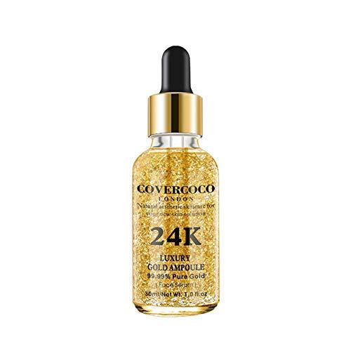 Allbesta Sérum 24k Gold Elixir Hydratant Raffermissant Anti Ageing Anti-Rides Infused Essence Oil Drops pour Le Maquillage du Visage Soin de la Peau
