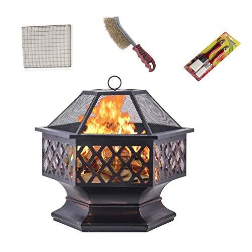 41GCj6LlnTL. SL500  - LDIW Garten Terrasse Feuerschale Multifunktional Fire Pit 3 in 1 Feuerstelle Grill Mit Grillrost Funkenschutz Für Heizung BBQ Outdoor Garten Terrasse