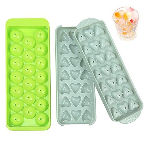 Iindes Eiswürfelschalen Herz- und Kugelform 2 Stücke Eiswürfelform mit Deckel 3D Eiswürfelschale für Gefrierschrank, Whisky, Cocktails