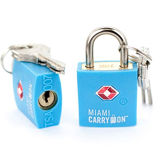 TSA Approved Padlock - Miami Carry On - Best TSA Keyed Luggage Lock, 0.9 Inch Wide - Keyed Different - Light Blue (2 Pack)