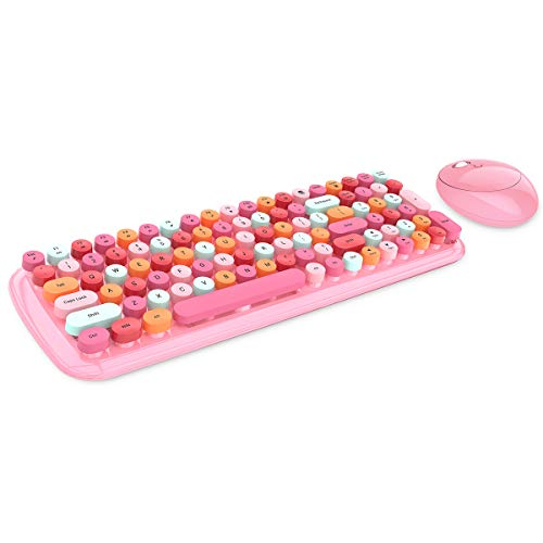 Wireless Keyboard and Mouse Combo, 2.4G Retro Typewriter Wireless Keyboard with Number Pad and Optical Ambidextrous Wireless Mouse for PC/Computer/Laptop/Desktop/Note/Mac (Pink Colorful)