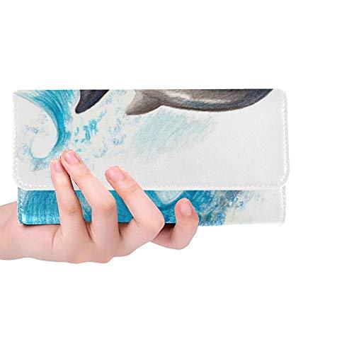 Einzigartige benutzerdefinierte Farbe Zeichnung Zwei Delphine auf Welle Frauen Trifold Wallet Lange Geldbörse Kreditkarteninhaber Fall Handtasche