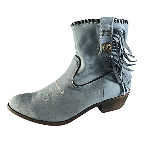 Heumgtnvx Short Boots Winter Embroidered Boots for Womens Pointed Toe Low Heel Mid Calf Boots Flat Boots Light Blue