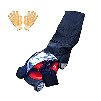 Senatobia Lawn Mower Cover Complete with Gardening Gloves and Storage Bag, Premium Heavy Duty Outdoor Universal Fit Waterproof Lawnmower Cover for Electric, Gas and Manual Push Mowers