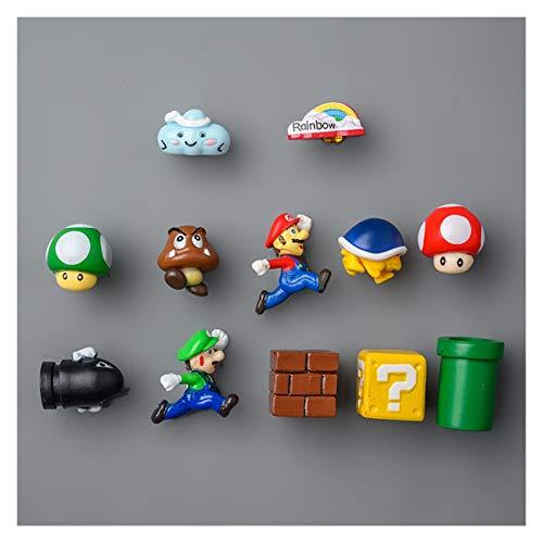 Yanqhua Imán de refrigerador 10 unids 3D Super Mario Bros Frigorífico imán de frigorífico imán de refrigerador Mensaje Pegatina Adulto Hombre niña niño niños Juguete Regalo de cumpleaños