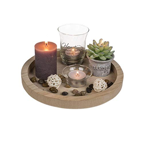 Out of the blue Plato de Madera Color Natural, Redondo, con 2 portavelas de Cristal, 2 Velas, 2 Velas y Piedras Decorativas, Home Natural, 23 cm