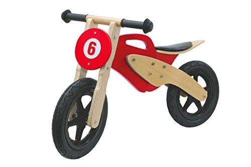 JAMARA 460231 Laufrad Holz Moto rot aus stabilem Birkenholz mit aberundeten Kanten/Schrauben und 9 Zoll Flüsterreifen