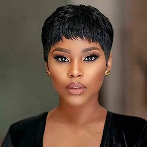 Korte Pruiken Van Echt Haar Natuurlijke krullen Zwarte Vrouwen 130% dichtheid voor Brazilian Hair Black Everyday Dress Party