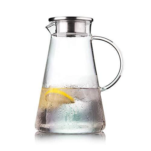 MZDJDM Decantador de Vidrio de Vidrio de borosilicato de 2L con Tapa, purificador de Agua, Botella de Agua, Tetera y Pico