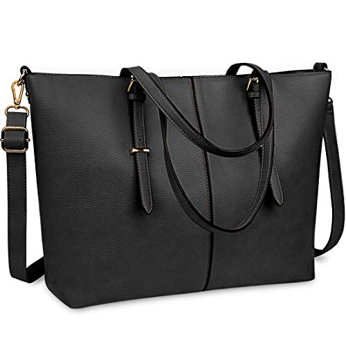 Women Handbag Laptop Tote Bag 15.6 Inch Large Leather Shoulder Bag Designer Lightweight Computer Tote Bag Lady Stylish Handbags for Work Business School College Travel Black