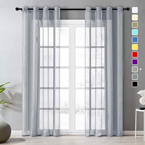 Topfinel Voile gordijnen, linnenstructuur, met ogen, doorzichtig, eenkleurig, voor ramen, woonkamer, slaapkamer, modern en elegant gordijn