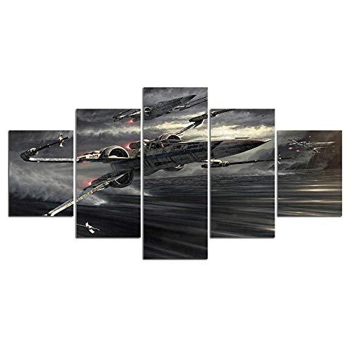 CLOAAE 5 Tablet Fighter Aviation Painting Canvas Wall Art Picture Decorazione della casa Soggiorno Tela Stampa Pittura Tela