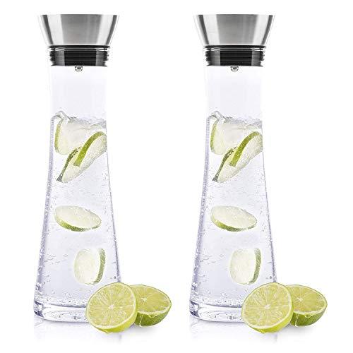 BeBuy24 2X Wasserkaraffe Glas (1 Liter) - Glaskaraffe mit Deckel und Ausgießer Wasserflasche