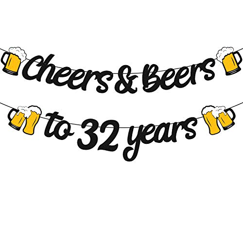 32th Birthday Decorations Cheers & Beers to 32 Years Banner for Men Women 32s Birthday Backdrop Wedding Anniversary Party Supplies Black Glitter Decorations PRE Strung