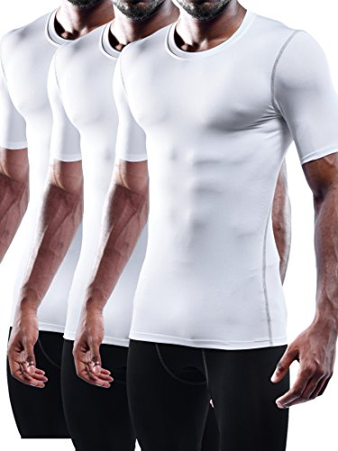 Neleus Men's 3 Pack Workout Athletic Compression Shirts,White,US M,EU L