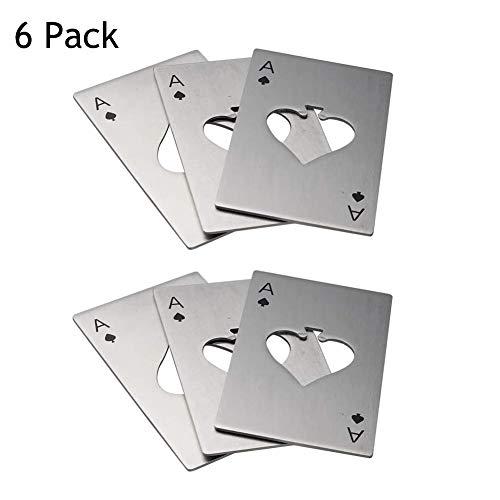 MEANTOBE 6 Pack Pocker Fles Opener Ace van Spades Bier Cap Opener RVS Credit Card Grootte (zilver)