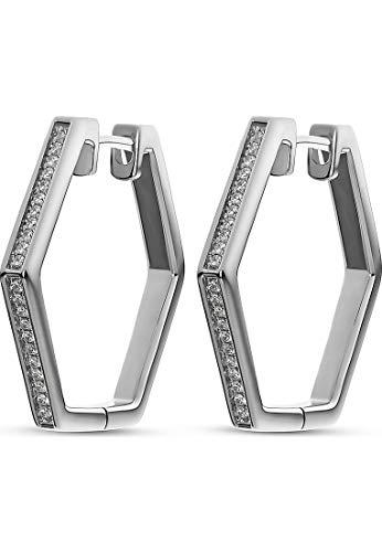 JETTE Silver Damen-Creolen Hexagon 925er Silber 44 Zirkonia One Size Silber 32010628