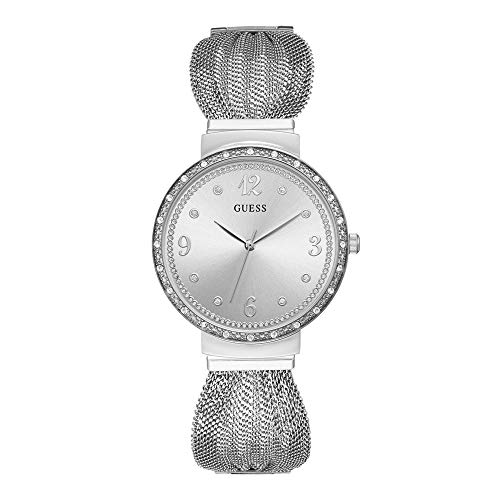 Guess - Reloj de pulsera para mujer (chifón, cuarzo, acero inoxidable, caja con piedras incrustadas)