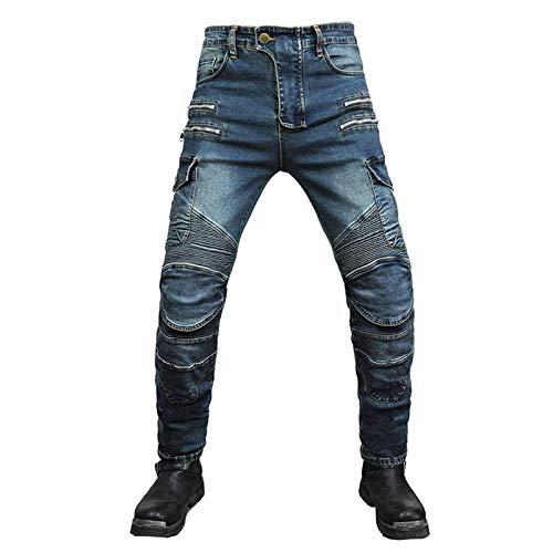 KAISUN Pantalones de motorista para hombre, anticaídas, corte recto, pantalones de protección para moto, con protectores de rodilla y cadera (azul, 32 W/L)
