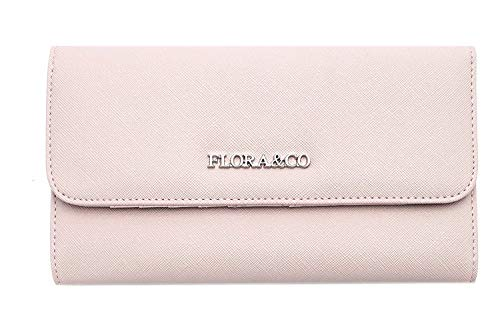 Flora&Co - Porte Chéquier Femme Tout en Un - Portefeuille Compagnon Long Blocage Forme Enveloppe - Porte-Monnaie Carte Multifonction - PU Cuir Rigide (Rose)