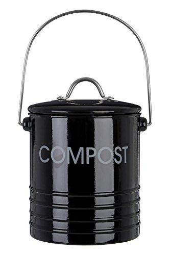 Bac à Compost avec Poignée Noir -Poubelle Cuisine - La 15 x D 15 x H 18 Cm