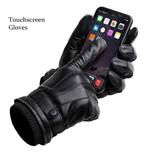 BISON DENIM Herren Herbst Winter Warme Handschuhe Schaffell Leder Touchscreen Vollfinger Schwarz Handschuhe Hohe Qualität S019