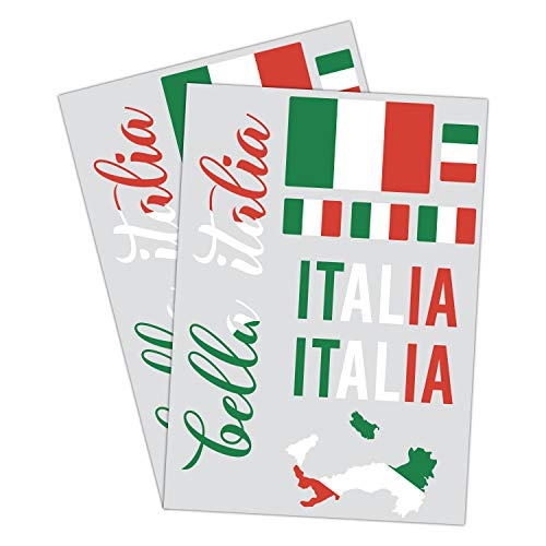 PrintAttack P066 | Italien Flagge 2er Set DinA4 mit verschiedenen Motiven | Italien Karte Universal Aufkleber Fahne | Auto Motorrad Caravan Wohnmobil Roller Tricolore (Blutrot)