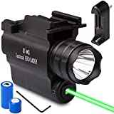 DefendTek DT-M3 Rechargeable Rail Mounted Green Laser Sight Combo Tactical LED Rail Mount Gun Flashlight with Quick Release 5mW 650nm Laser