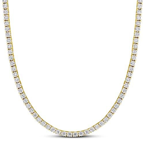 Iced Out Tennis Necklace Fake Diamond CZ Chain Choker White Gold Silver Platinum Hip Hop Bling One Row (16 inch Gold)