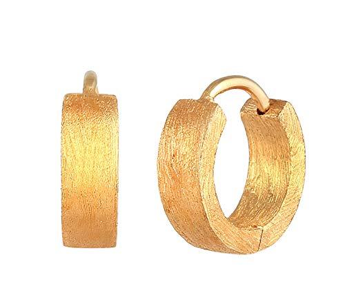 Kuzzoi - Pendientes de aro para hombre cepillados, 1 par de pendientes de aro (13 mm, redondos, dorados, de plata de ley 925, chapados en oro, de alta calidad, para hombres