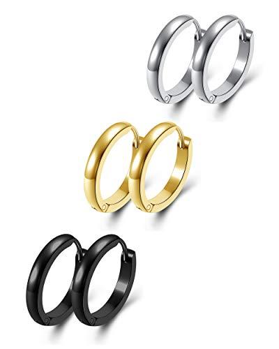Zysta 3 pares de pendientes de aro unisex de acero inoxidable para hombre y mujer 18 GA Huggie Helix plata oro negro 16 mm 20 mm 3mm-20mm