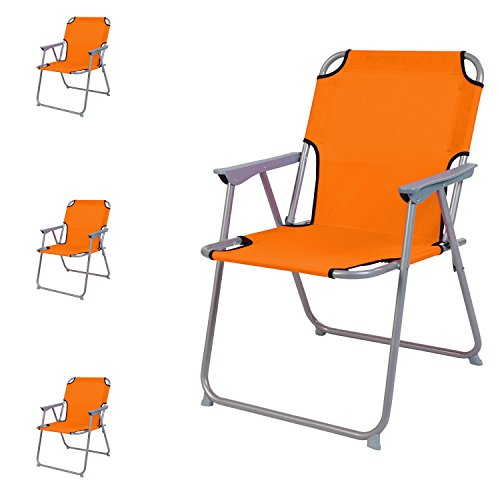 4 Stück Campingstuhl Faltstuhl Stoff Oxfort Orange Klappstuhl Anglerstuhl Regiestuhl Angelstuhl Metall B 53 x T 46 x H 74 cm