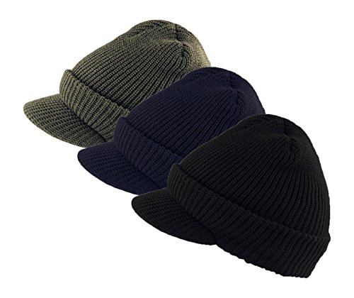 Genuine Military Wool Jeep Cap with Lid - 3 Pack, Variety Pack (OD,Black,Navy Blue) Made in USA