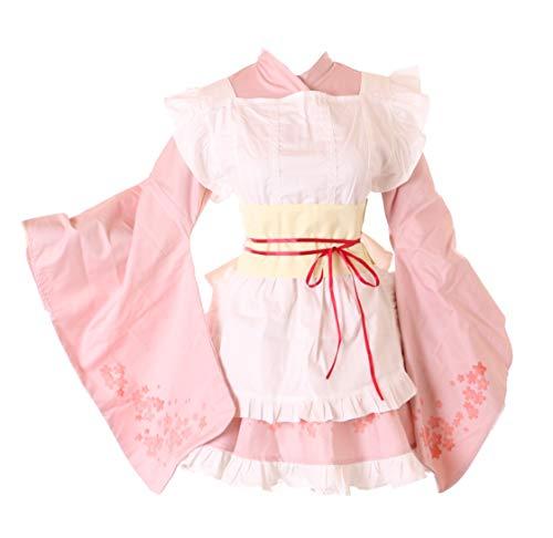 Kawaii-Story JL-668 Sakura roze kersenbloesem kimono schort Gothic Lolita Maid jurk kostuum Cosplay X-Large roze