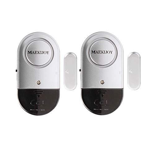 2er Set MAEKIJOY Tür Fenster Alarm Einbruchschutz mit Batterien - Drahtlose 120dB Fensteralarm Türalarm Alarmanlage für Zuhause, Garage, Büro, Vitrinen, Kinder Sicherheit