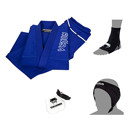 Venum BJJ Basic Bundle, Blue Gi, Schwarze Fußgriffe, Schwarze Ohrpolster, schwarz-weiß Mundschutz, Size A3 Gi, S. Foot Grips