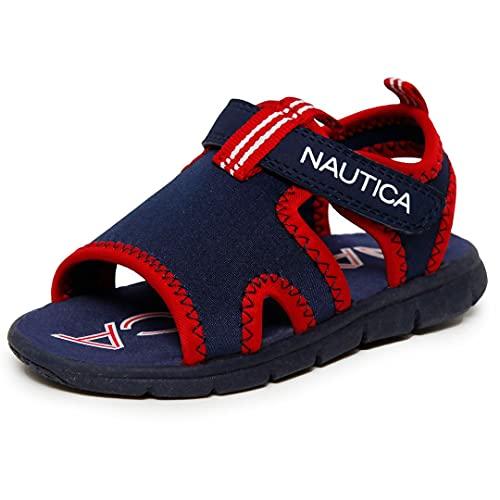 Nautica - Sandalias deportivas para niños, con puntera abierta, estilo atlético, para verano, para niño y niña, Azul marino/Rojo, 15 MX Niño