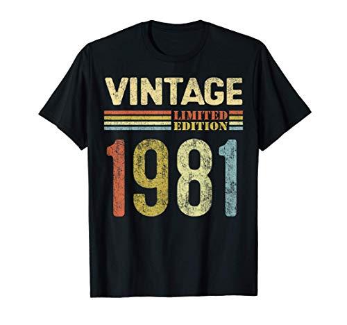 Vintage 1981 Regalo Original Hombre 40 Años Cumpleaños Mujer Camiseta