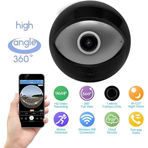 Robiless Fish Eye Black Circle Wireless 360* Panoramic WiFi IP Camera with Infrared Night Vision,Live View,Two Way Communication, Motion Detection, Remote View On Mobile(Pack of 4)