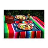 Roger Enterprise Large Authentic Mexican Saltillo Sarape Blanket with Assorted Bright Colors