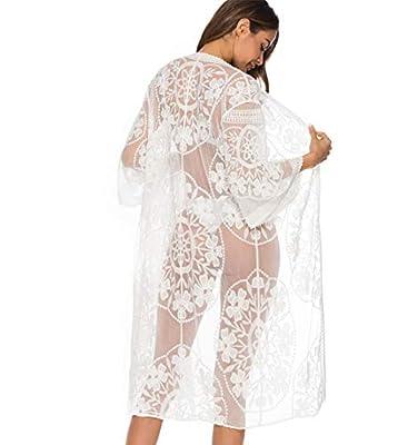 Women Hollow Out Crochet Lace Patchwork Swimwear Beachwear Bathing Suit Cover Up Bikini Set Cardigan (White)