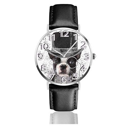 Reloj de Pulsera Bull Gental Dog High Hat Durable PU Correa de Cuero Relojes de Negocios de Cuarzo Reloj de Pulsera Informal Unisex