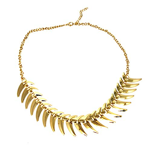 Ai.Moichien Women Chunky Necklace Gold Plated Chain Fish Bone Vintage Charm Punk Clavicle Choker Jewelry